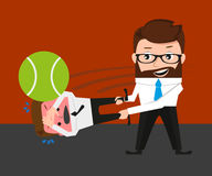 Businessman is playing tennis by bad manager Royalty Free Stock Photos