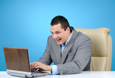 Businessman playing video game Royalty Free Stock Photos