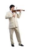 Businessman playing violin Stock Photo