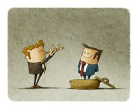 Businessman plays a flute like a snake charmer, another business man comes out of the basket. concept of manipulation of people Stock Photos