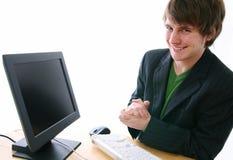 Businessman pleased stock image