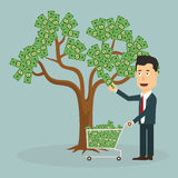 Businessman plucking money from tree - Vector Royalty Free Stock Image