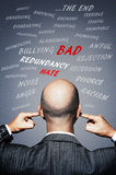 Businessman plugging his ears to avoid negative words and energy Royalty Free Stock Photography