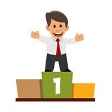 Businessman on the podium. Manager who has achieved success in the work Royalty Free Stock Image