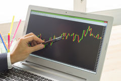 Businessman Point and Analyze Forex Graph or Stock Graph by Pen Stock Photography