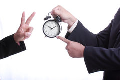 Businessman point clock for order something Royalty Free Stock Images