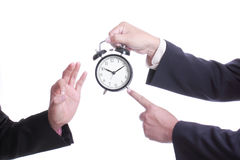 Businessman point clock for order something Stock Images
