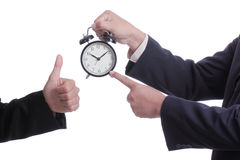 Businessman point clock for order something Stock Photo