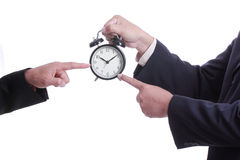 Businessman point clock for order something Stock Image