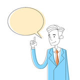 Businessman Point Finger Chat Box Bubble Stock Images