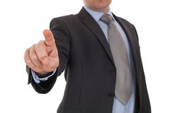 Businessman point finger at digital virtual button Stock Photography