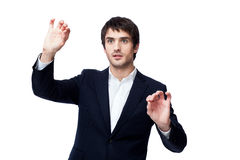 Businessman point finger empty copy space Royalty Free Stock Photo