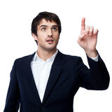 Businessman point finger empty copy space Stock Images