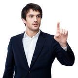 Businessman point finger empty copy space Stock Photo