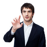 Businessman point finger empty copy space Stock Photo