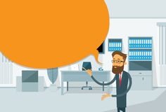 Businessman Point Finger To Copy Space, Business Man Standing In Office Royalty Free Stock Image