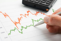 Businessman point to graph. Businessman point to financial graph with pen Royalty Free Stock Photography