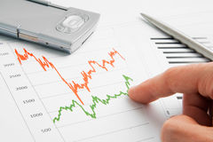 Businessman point to graph. Businessman point to financial graph Royalty Free Stock Photos