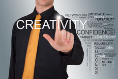 Businessman pointin to Creativity word Stock Photography