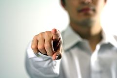 Businessman pointing. At you Stock Photography