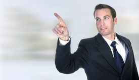 Businessman pointing Stock Images