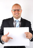 Businessman pointing at blank Stock Image