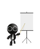 Businessman pointing at blank projection screen banner. Illustration royalty free stock images