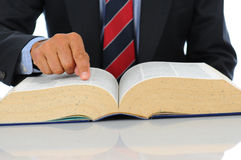 Businessman pointing at book Royalty Free Stock Photography