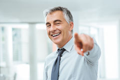 Businessman pointing at camera Stock Photography