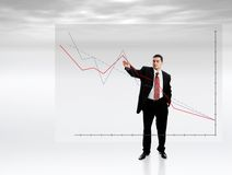 Businessman Pointing at Chart Stock Photography