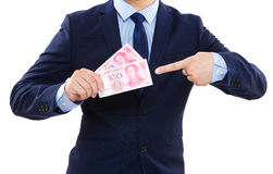 Businessman pointing chinese banknote Stock Photography