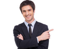 Businessman pointing copy space. Stock Photography