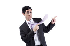 Businessman pointing the copyspace Stock Photos