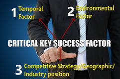 Businessman pointing critical key success factor Stock Photos