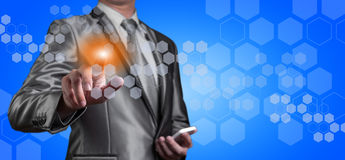 Businessman pointing on digital screen, business technology conc Stock Photography