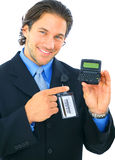 Businessman Pointing At Empty Electronic Pager Royalty Free Stock Photos