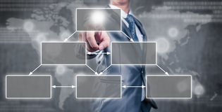 Businessman pointing an empty organization chart Stock Photo