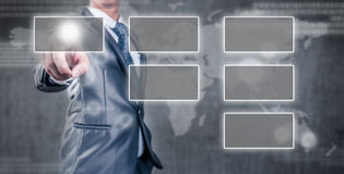 Businessman pointing an empty organization chart Royalty Free Stock Photo