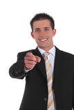 Businessman pointing with finger Royalty Free Stock Images
