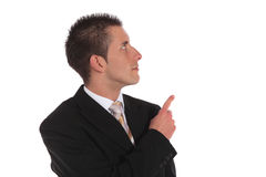 Businessman pointing with finger Stock Image
