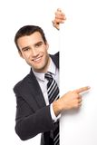 Businessman pointing finger Stock Images
