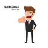 Businessman pointing finger. Cartoon Vector Illustration Royalty Free Stock Photography