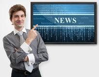 Businessman pointing finger on digital screen Stock Image