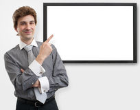 Businessman pointing finger on digital screen Stock Images