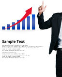 Businessman pointing a finger at graph sample text isolated Royalty Free Stock Photos
