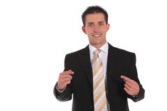 Businessman pointing with finger on himself Stock Images