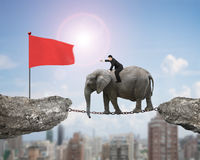 Businessman with pointing finger riding elephant toward red flag Royalty Free Stock Image