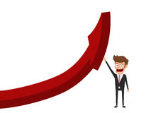 Businessman pointing finger to raise graph get a lot of money. Chart growth financial success concept. Cartoon Vector Illustration Royalty Free Stock Images