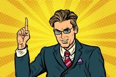 Businessman pointing finger up. Pop art retro vector illustration Stock Image