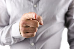 Businessman pointing finger at you Stock Images